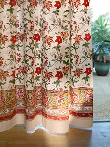 Saffron Marigold – Tropical Garden – Red, Yellow, and Gold Floral Hand Printed – Elegant Romantic Sheer Cotton Voile Curtain Panel – Tab Top or Rod Pocket – (46 x 84)
