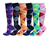 6 Pairs Women's Fancy Design Multi Colorful Patterned Knee High Socks,New Argyle,Size 9-11 ( Fit women shoe size 4 to 10 )