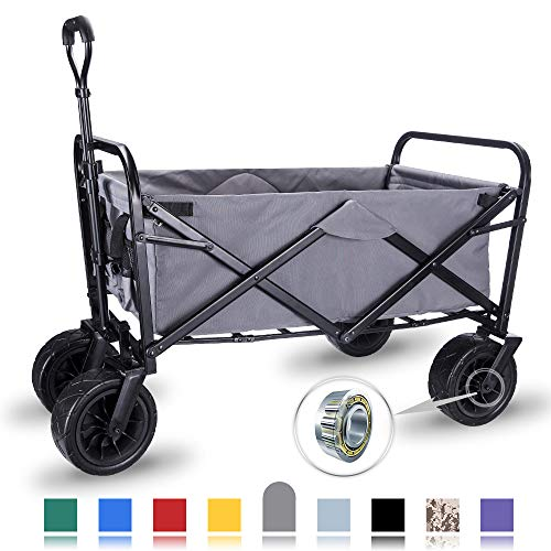 "WHITSUNDAY Collapsible Folding Garden Outdoor Park Utility Wagon Picnic Camping Cart with Wheel Bearing (Standard Size(Plus+) 8"" Heavy Duty Wheels, Grey)"