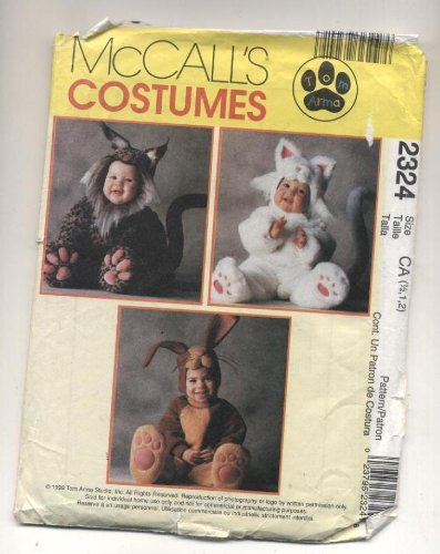 McCall's Cosumes Rabbit, Cat, Bobcat, Sewing Pattern #2324 -