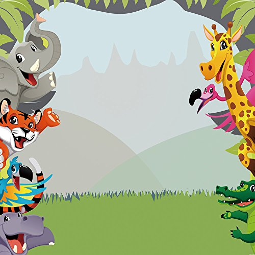 Muzi Photography Backdrops Jungle Safari Themed animals birthday party banner photo background Natural Scenery Sweet Baby Kids Portrait Party Backdrop 8x8ft W-303 -