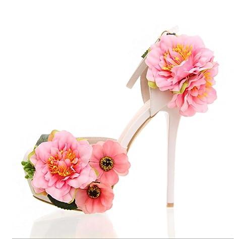cd484bda05 QPYC Scarpe da sposa con fiori e plateau con tacco alto, scarpe da ...