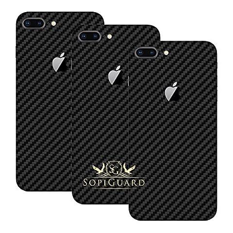 SopiGuard iPhone 8 Plus Carbon Fiber Full Body Precision Edge-to-Edge Coverage Easy-to-Apply Vinyl Skin Sticker (3 x Carbon Black Rear (Iphone 4s Privacy Screen 3m)