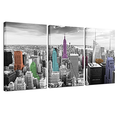 ictures for Wall The Empire State Building Photo Poster Prints Color Black and White Wall Art for Modern Living Room Office Wall Decor Cityscape Artwork Ready to Hang ()