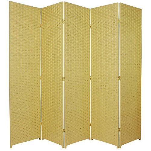 Oriental Furniture 6 ft. Tall Woven Fiber Room Divider - 5 Panel - Dark Beige