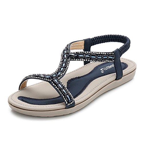 Meeshine Women's Summer Beach Flat Sandals Bohemia Beaded T-Strap Rhinestone Slip on Sandals Shoes(7 B(M) US,Blue 01) ()