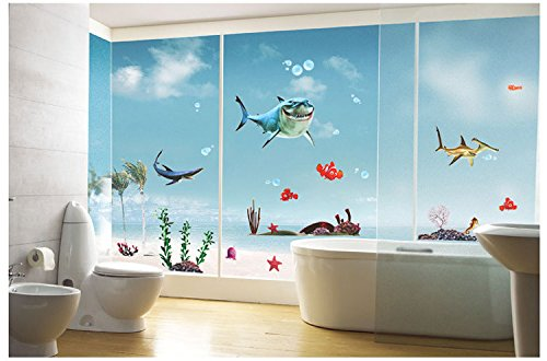 (World Under sea Unique Decor Removable Wall Art Sticker Decal Home Kid Room Decor and Wall Decor (Shark))