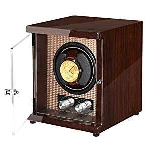 CHIYODA Watch Winder with Quiet Mabuchi Motor Unique12 Rotation Modes, High Gloss Brown