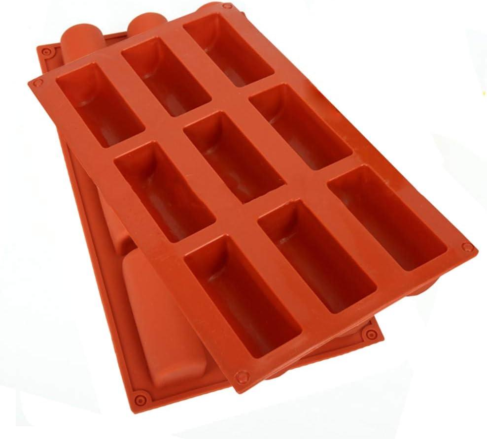 2 Piezas Molde de Pastel de Silicona,WENTS Molde de Silicona Antiadherente Semicilindro para 9 Brownies,Se utiliza para hacer pasteles de mousse y otros postres(Color Aleatorio)