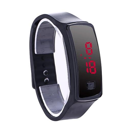 Reloj De Pulsera Demiawaking Moda LED pulsera Relojes digitales Unisex Sports Wristwatch (Negro)