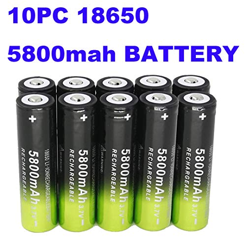 10 Packs Button Top Batteries High-Capacity 3.7V 5800mAh 18650 Lithium Rechargeable Battery for LED Lights/Toys/MP3/TV Remote Controls/Alarm Clocks/Flashlight Torch not aa Battery, not Flat Top (Microtek Ups Battery 12v 7-2 Ah Price)