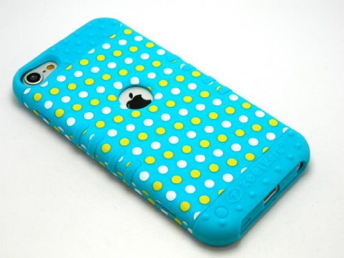 CellPhone Trendz Hybrid 2 in 1 Case Hard Cover Faceplate Skin Blue Silicone and Yellow White Blue Light Polka Dots Snap Protector for Apple iPod iTouch 5 (5th Generation)