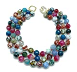 KENNETH JAY LANE Multi Color Agate Beaded 3 Row Strands Gold Clasp Necklace, 17