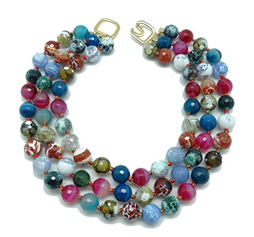 KENNETH JAY LANE Multi Color Agate Beaded 3 Row Strands Gold Clasp Necklace, 17 ()
