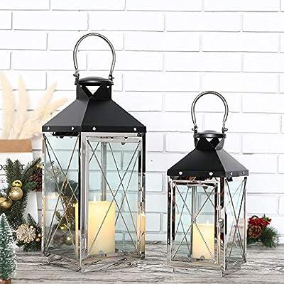 UK-Gardens 40cm Black or Bronze Lantern with 3 Flickering Candles