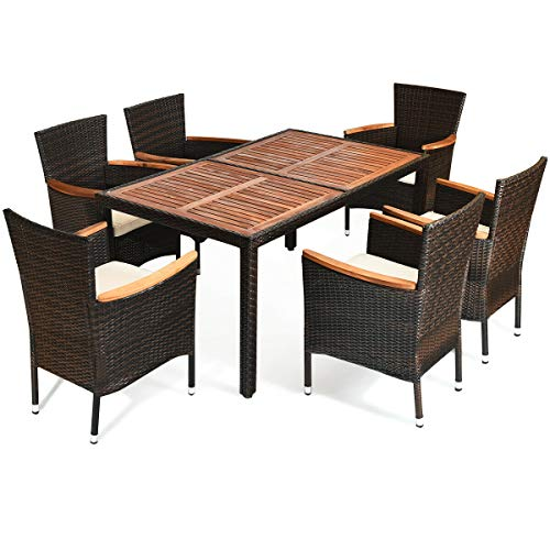 lunanice Brown Home Office Coffee Shop Restaurant Elegant 6X Chair 1X Table 6Xcushion Patio Outdoor Indoor Rattan Dining Set Dining Party 6 Stackable Chairs Cushioned Acacia Wood Table Top (Vintage Patio Wrought Iron Furniture Salterini)