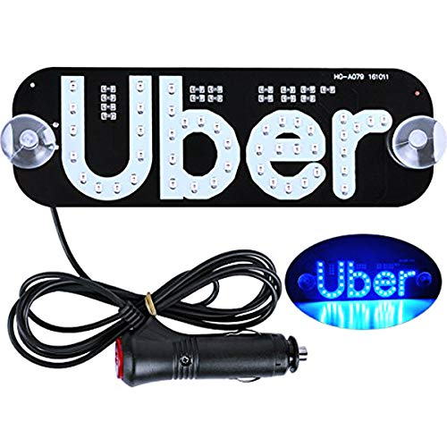 Tchrules Uber LED Sign Decor, Led Uber Sign with Suction Cups Glowing Uber Decor Accessories Uber Flashing Hook on Car Window with DC12V Car Charger Inverter