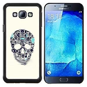 LECELL--Funda protectora / Cubierta / Piel For Samsung Galaxy A8 A8000 -- Azul Beige cráneo del trullo Muerte de tinta del tatuaje --