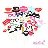 Wisehands 31 PCS Photo Booth Props Kit for Wedding, Birthday, and Party- Assorted Color