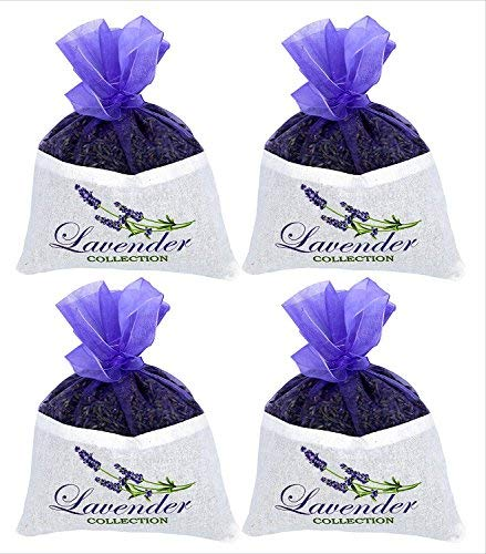 Fresh Harvest from The French Provence 4 Extra Large Lavender Sachet - 4 Packs  50 grams Each - Cozy Pouch Sachet Filled with Dried Lavender Flower Buds - Naturally Scent Fragrance for Closets