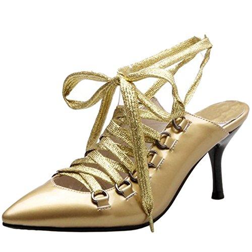 TAOFFEN Mujer Moda Charol Cerrado Tacon de Aguja Sandalias Cordones Gladiator Slingback Glitter Sandalias Amarillo