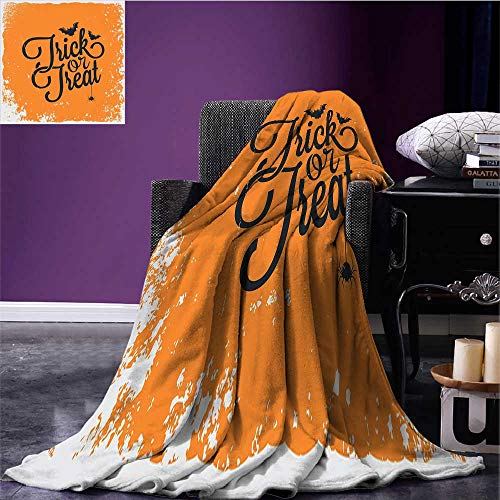 Vintage Halloween Throw Blanket Trick or Treat Halloween Theme Celebration Image Bats Tainted Backdrop Print Summer Quilt Comforter Orange Black Bed or Couch 60