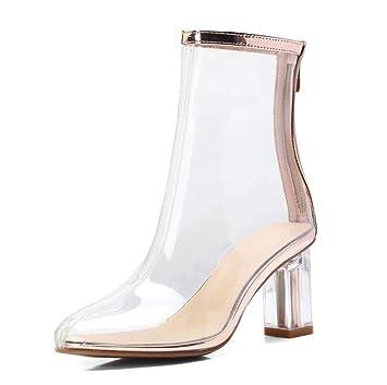 a24fc5e8a284a QINGMM Damen Transparente Stiefel 2018 Kristall High Heel Einfache ...