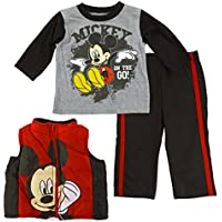 Disney Boys' Infant Toddler Mickey Mouse 3-Piece Vest Set with Track Pant