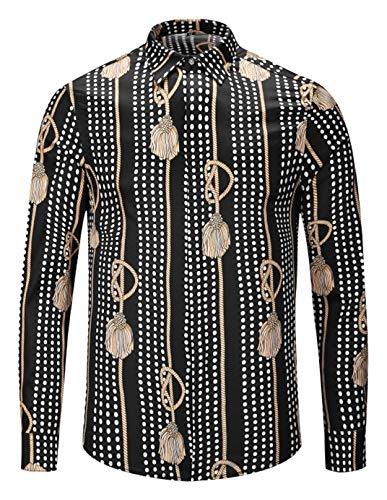 PIZOFF Mens Long Sleeve Luxury Golden Long Rope Dots Design Print Button Down Dress Shirt AL082-82-M