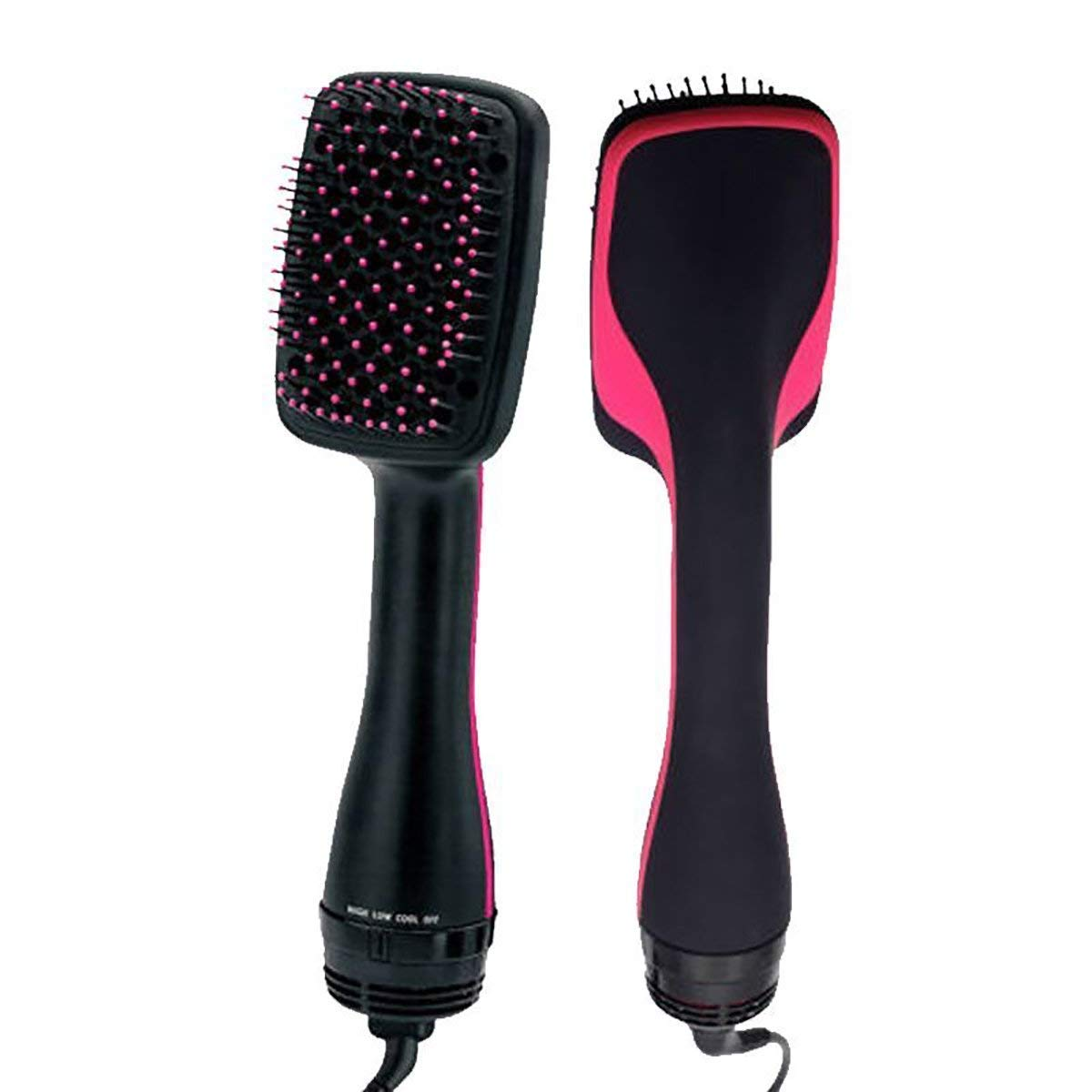 Salon One-Step Hair Dryer & Styler, 2-in-1 Negative Ion Hot and Cool Air Blower Comb Straightening Brusher, Pink/Black Color Wbest