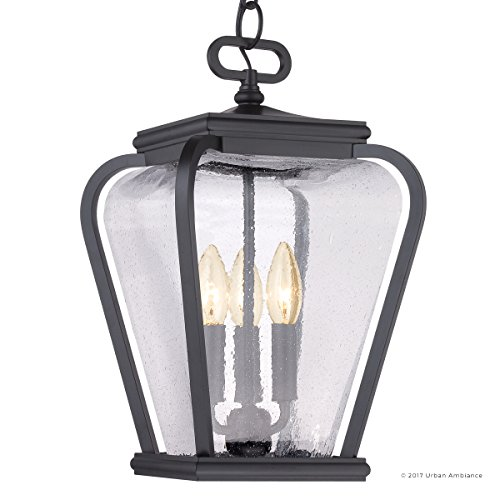 Luxury French Country Outdoor Pendant Light, Medium Size: 15.5''H x 9.5''W, with Mediterranean Style Elements, Soft and Simple Design, Inky Black Silk Finish and Seeded Glass, UQL1204 by Urban Ambiance by Urban Ambiance (Image #7)