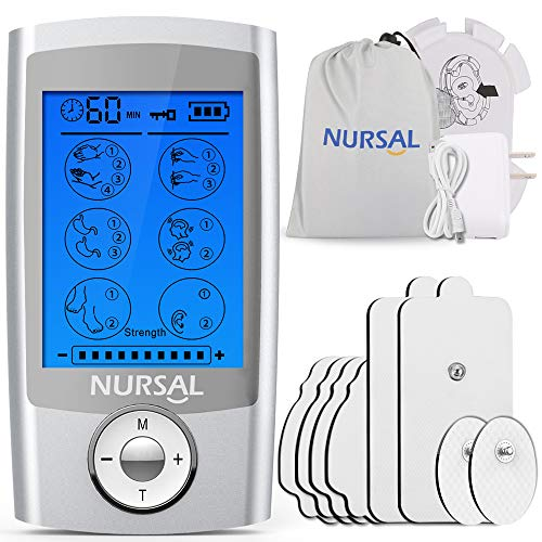 NURSAL EMS TENS Unit Muscle Stimulator with 8 Electrode Pads/Pouch/Pads Holder