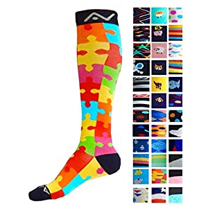 Compression Socks (1 pair) for Women & Men by A-Swift - Graduated Athletic Fit for Running, Nurses, Flight Travel, Skiing & Maternity Pregnancy - Boost Stamina & Recovery (Jigsaw, S/M)
