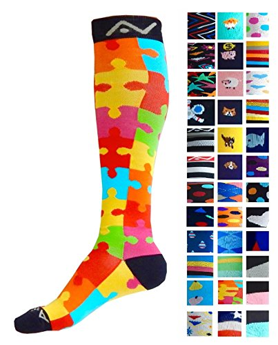 Compression Socks (1 pair) for Women & Men by A-Swift - Graduated Athletic Fit for Running, Nurses, Flight Travel, Skiing & Maternity Pregnancy - Boost Stamina & Recovery (Jigsaw, L/XL)