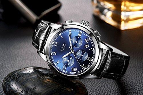 Watch Men Leather Strap Watches Men's Chronograph Waterproof Sport Date Quartz Wrist Watch Blue by LIGE (Image #3)