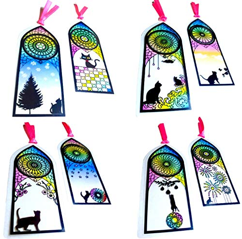 Japanese Cute Kawaii Black Kitty Cat Stained Glass Laminated Bookmarks for Women 8 ()