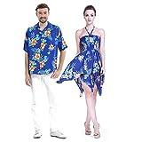 Couple Matching Hawaiian Luau Aloha Shirt Gypsy Dress in Hibiscus Blue M