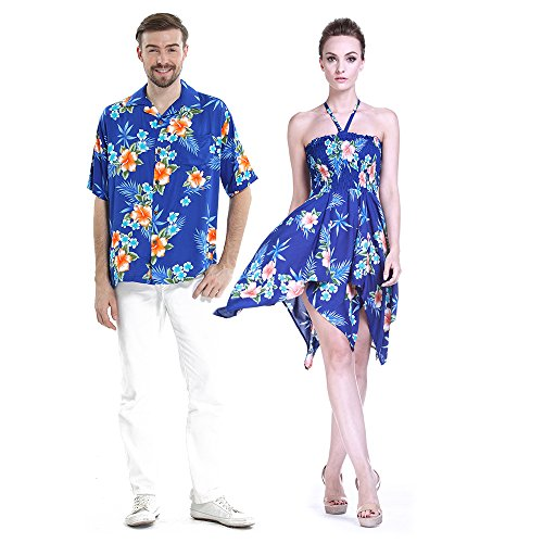 Couple Matching Hawaiian Luau Aloha Shirt Gypsy Dress in Hibiscus Blue M by Hawaii Hangover