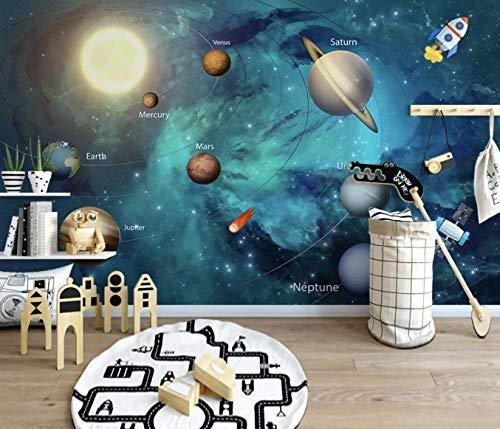 Murwall Kids Wallpaper 3D Solar System Wall Murals Planet Wall Decor Boys Girls Bedroom Space Wall Art Playroom Childroom