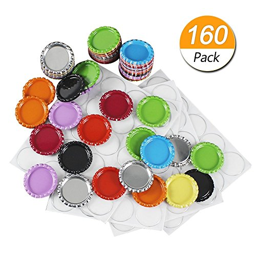 Dreamtop 80 Pieces Flattened Bottle Caps Mixed Colors with 80 Pieces 1 Inch Clear Epoxy Sticker for Photo Pendants Hair Bows Crafts Scrapbooks by Dreamtop
