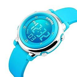 SKNBC Children Watch Outdoor Sports Kids Boy Girls LED Digital Alarm Stopwatch 50m Waterproof Wristwatch Children's Dress Watches Blue