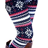 Ensasa Womens Autumn Winter Snowflake Graphic Printed Stretchy Leggings Pants, Black Red Flake Small