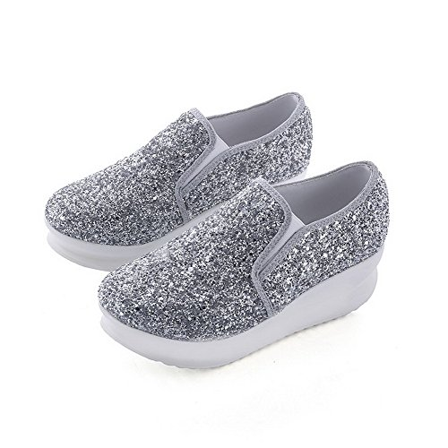 AllhqFashion Womens Sequins Pull-On Round-Toe Low-Heels Solid Pumps-Shoes Silver nXpyxvnUEj