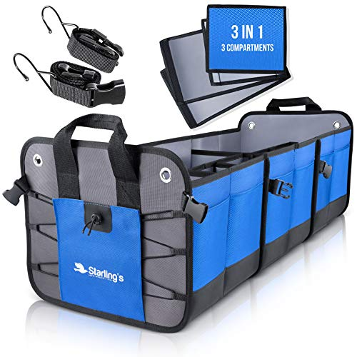 Starling's Car Trunk Organizer - Durable Storage SUV Cargo Organizer Adjustable (Blue - 3 Compartments)]()