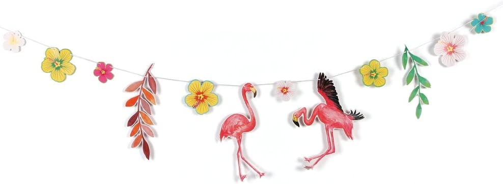 Feuille Artificielle Tropicale Easy Joy Decoration Anniversaire Fille 1 an Ballon Kit Flamingo Decoration Lampion Papier Pompom Papier Soie
