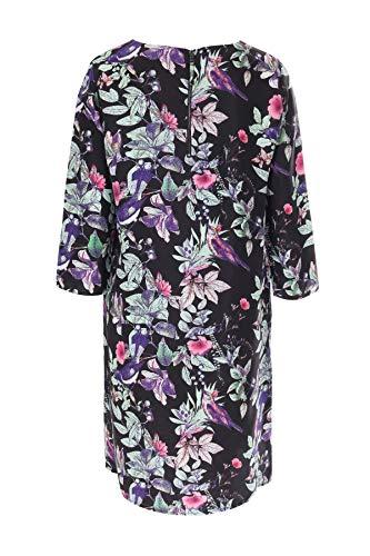 mit Vogel Kleid Seide aus Blätter bloom Print Mehrfarbig tnABqw