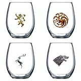 Game of Thrones Stemless 15oz Wine Glass (Set of 4)