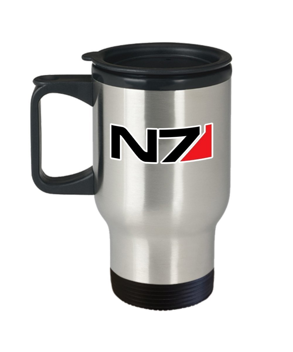 Mass Effect N7 Coffee Mug Cup (Travel) 14-ounce Mass Effect Video Game N7 Vocational Code Systems Alliance Military Gift Merch Accessories Pin Poster Shir