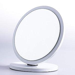 Miroir de Maquillage- Miroir de Maquillage Grand Miroir de vanité de Bureau Pliant Rond Miroir HD Dressing en Bois Miroir de Bureau comptoir Miroir (Couleur : Blanc, Taille : Large)