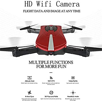 Mini abejón plegable, FOXFF JD-18 Selfie Drone con cámara Transmisión en vivo WiFi